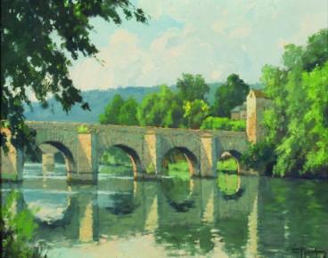 Peinture pont sur cour d'eau